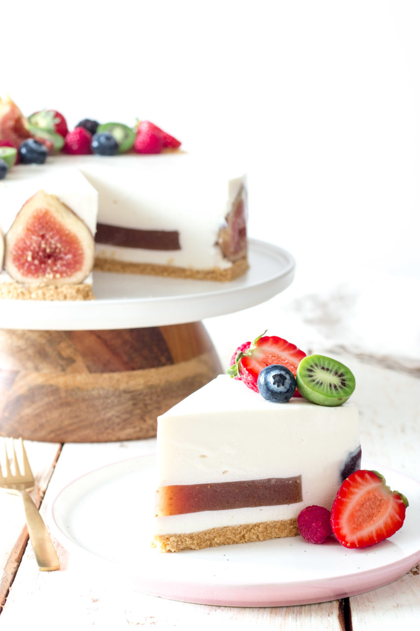 Tarta fría de mousse de yogur e higos | Cold yoghurt mousse and figs cake